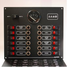 12 Way Marine Circuit Breaker & Rocker Switch Panel with Volvo Penta Voltmeter