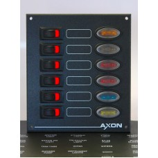 6 Way Rocker Switch Panel with fuse protection - Marine, Boat, Narrowboat